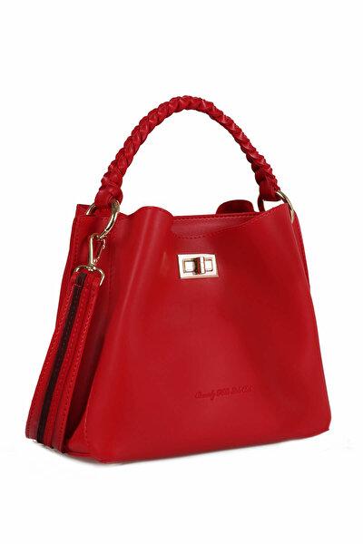 Kadın Şerit Desenli Örgü Detaylı Çanta Kırmızı