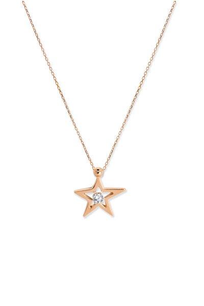 Kadın Yıldız Tek Pırlantalı  Kolye D008365