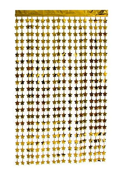 Işıltılı Yıldızlı Gold Arka Fon Kendinden Yapışkanlı Altın Sarısı Kapı Perdesi Metalik Duvar Süsü