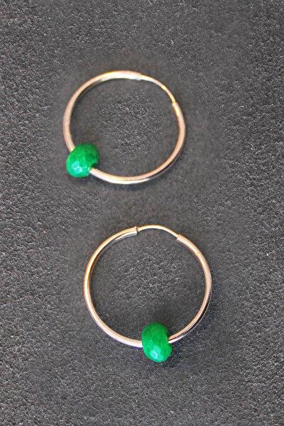 Kadın Yeşil Taşlı Halka Rose Gümüş Küpe TGP0116
