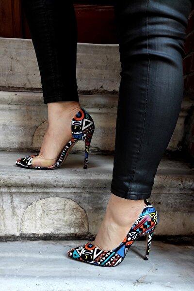 11 Cm Renkli Desenli Stiletto Şeffaf Topuklu Kadın Ayakkabı