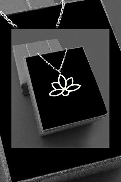 Lotus Çiçeği Beyaz Altın Kaplama Kadın Gümüş Kolye