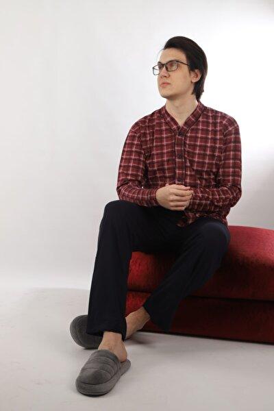 Erkek %100 Pamuk Boydan Düğmeli Pijama Takımı