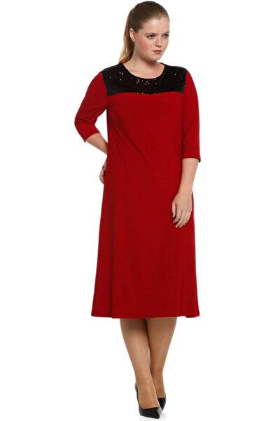 Büyük Beden Roba Pullu Payet Kırmızı Abiye Elbise