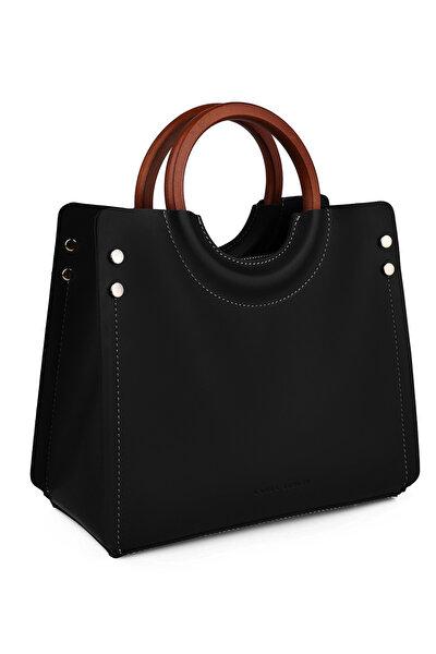 Kadın Ahşap Askılı Çanta Siyah
