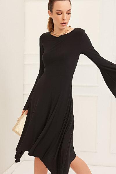 Kadın Siyah Asimetrik Kesim Elbise 19L6477