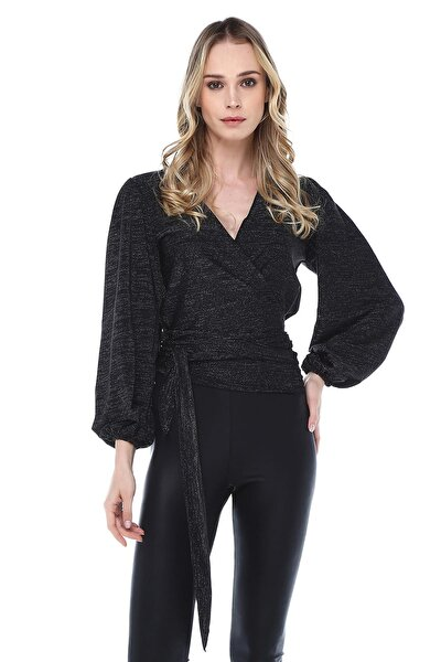 Kadın Siyah Anvelop Bluz BDM2438