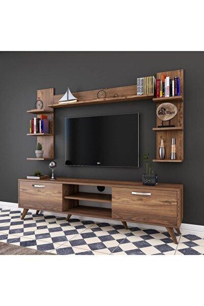 A9 Duvar Raflı Kitaplıklı Tv Ünitesi Duvara Monte Dolaplı Modern Ayaklı Tv Sehpası Ceviz M23