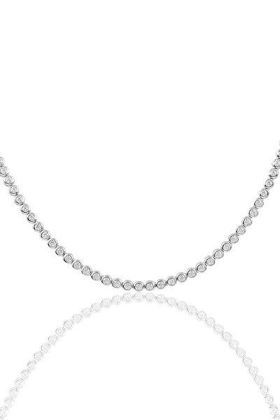 Kadın Gümüş Pırlanta Modeli Su Yolu Kolye SGTL9089