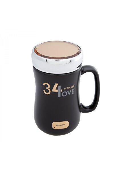 Love Siyah Kapaklı Kahve Kupası