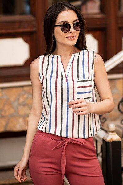 Kadın Saks Renkli Çizgili Cepli Kolsuz Bluz ARM-19Y001062