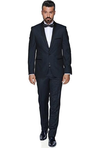 Erkek Art Smokın Yeleklı Dar Kalıp Takım Elbise -3B5M0434D081