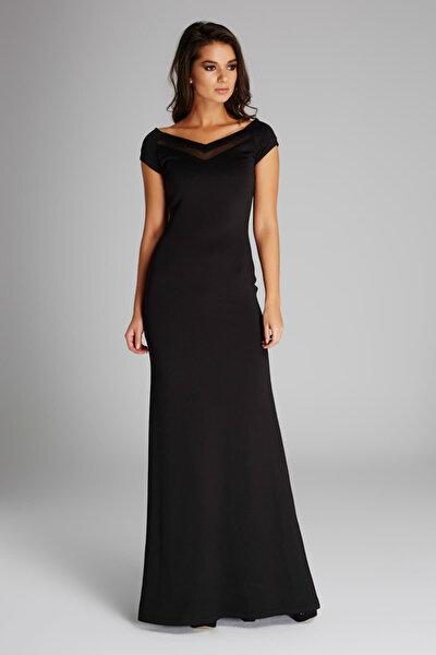 Kadın Siyah Tül Detaylı Abiye Elbise 15L4408-L
