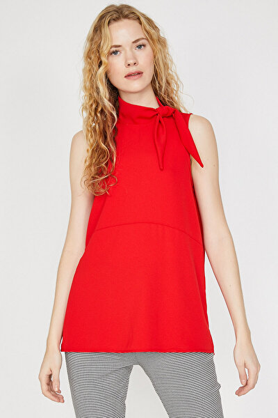 Kadın Kırmızı Yaka Detaylı Bluz 9KAK68060PW