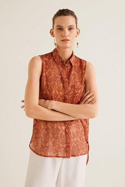 Kadın Yanık Turuncu Göğsü Cepli Desenli Bluz 43057811