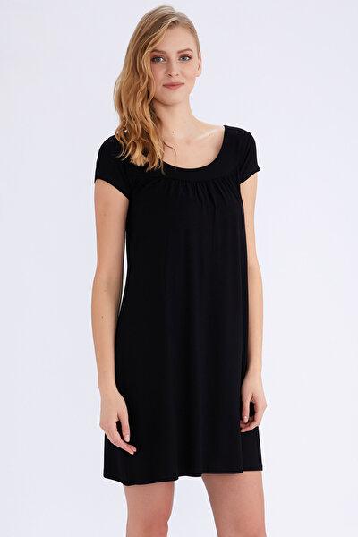 Kadın Siyah Kısa Kollu Penye Elbise 59333