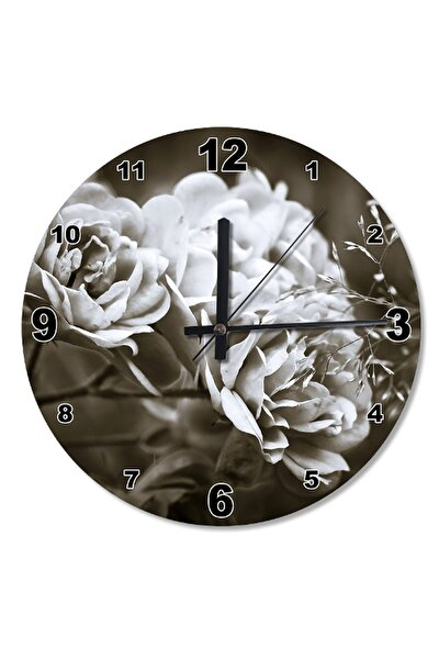 30 Cm Çap Beyaz Çiçekler Ahşap Duvar Saati