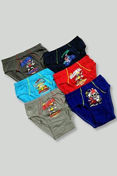 Erkek Çocuk Çok Renkli 6'Lı Paket 0138 Elastan Pamuk Baskılı Külot