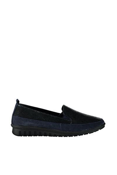 Hakiki Deri Lacivert Kadın Dolgu Topuklu Ayakkabı 01AYH127640A680