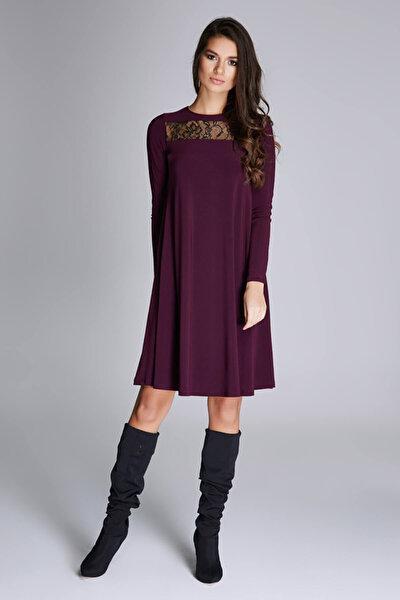 Kadın Mürdüm Dantel Detaylı Bol Kesim Elbise 15L4589