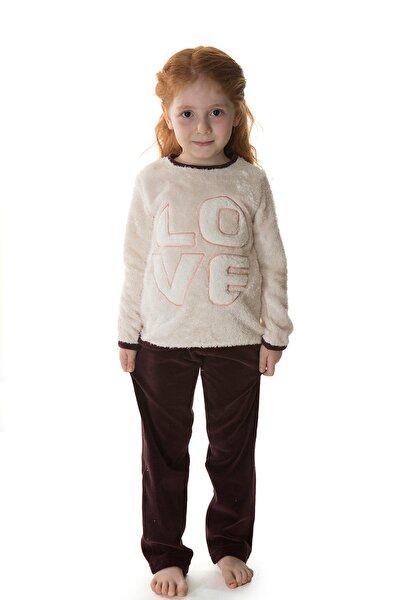 Kız Çocuk Bej Melanj Üst Wellsoft Alt Kadife 2li Uzun Pijama Takımı