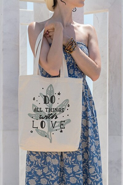 Do All Things With  Love Alışveriş Plaj Bez Çanta