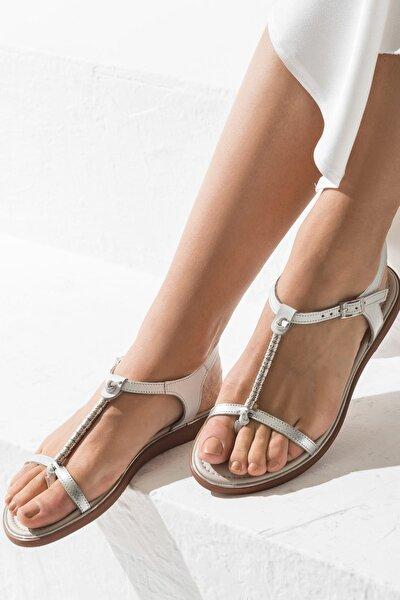 ALESON Hakiki Deri Gümüş Kadın Sandalet