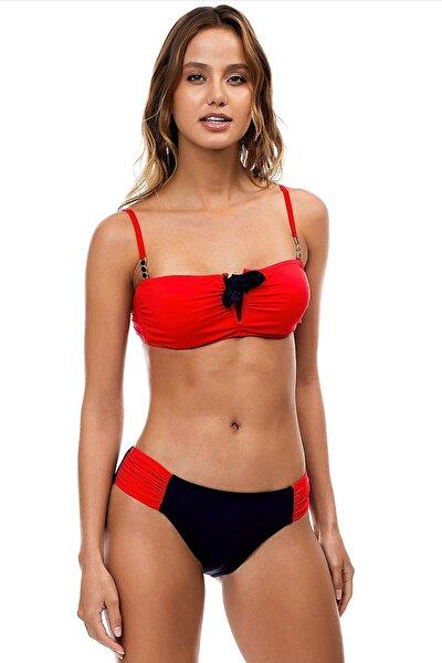 Kadın Kırmızı Straplez Toparlayıcı Bikini Takımı