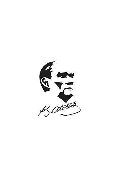 İmzalı Atatürk Silüet Oto Sticker 15 cm x 19 cm