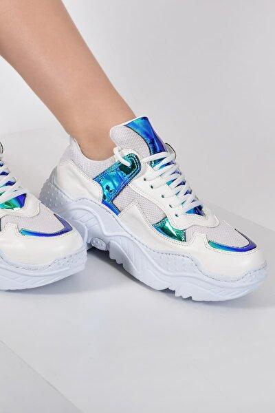 Beyaz Mavi Metalik Kadın Spor Ayakkabı 9Y2SAJ0015