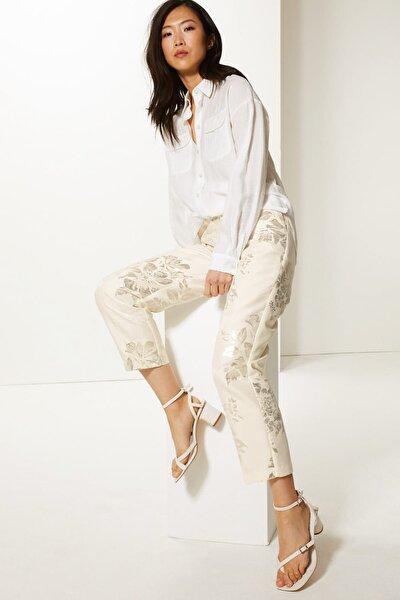 Kadın Bej Jakarlı Straight Paça Kısa Pantolon T59005756