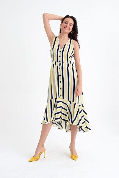 Kadın Dikey Çizgili Kolsuz Eteği Volanlı Düğmeli Elbise HN1800