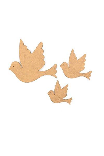 Ahşap Boyanabilir Üçlü Kuş Seti
