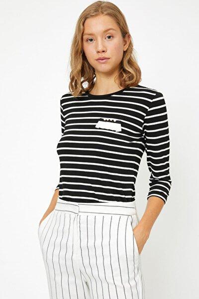 Kadın Beyaz Çizgili T-Shirt 8KAP13831EK