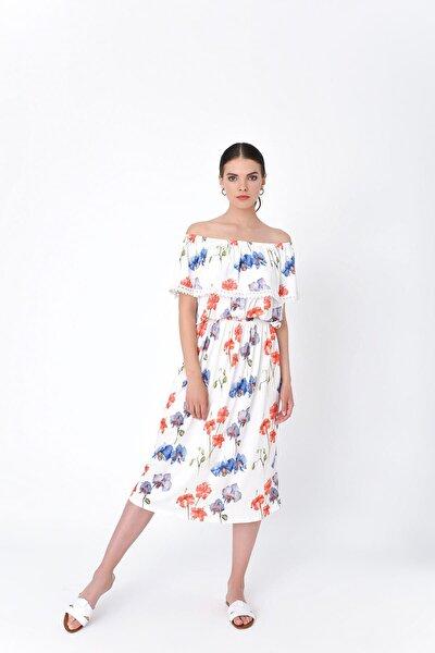 Kadın Beyaz Kayık Yaka Belden Lastikli Çiçek Desenli Elbise HN2016