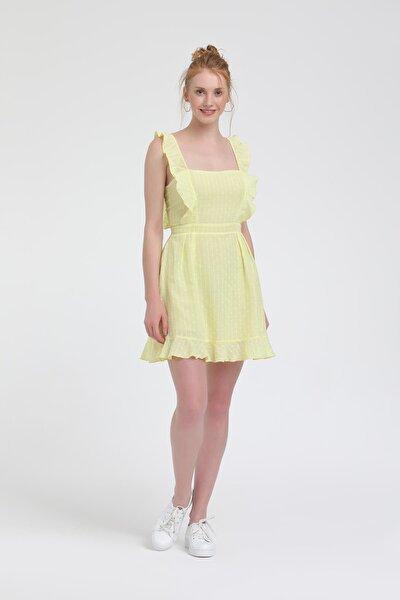 Kadın Sarı Fırfırlı Askılı Plumeti Kısa Elbise HPPYHS121