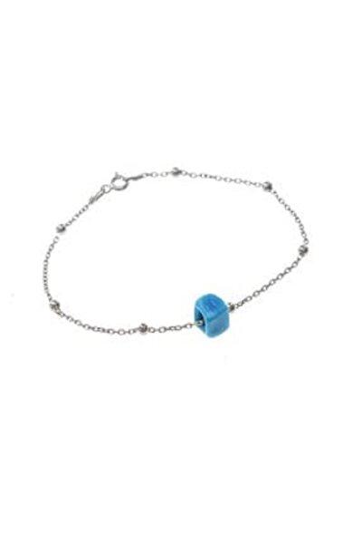 Kadın Gümüş Turkuaz Taşlı Top Top Bileklik SGTL8518-RODAJ