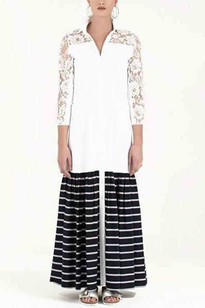 Dantelli Uzun Elbise Beyaz Çizgili 92248