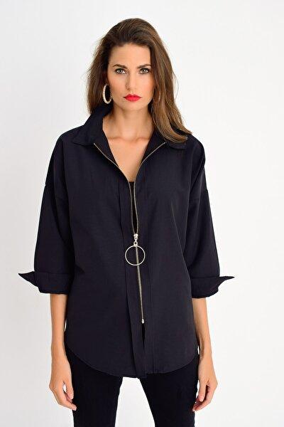 Kadın Siyah Fermuarlı Gömlek DY25580