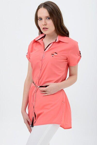 Kadın Mercan Şerit Desenli Mercan Tunik Gömlek  7135-2-312