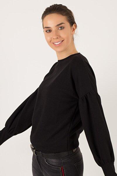 Kadın Siyah Balon Kol Bluz BLZ2156