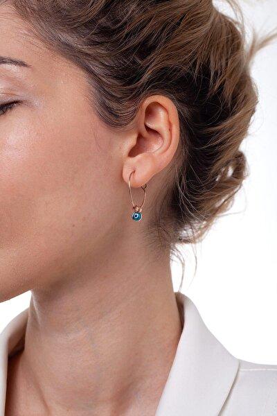 Kadın Halka Model Nazarlıklı Gümüş Küpe NNVSLVR02400