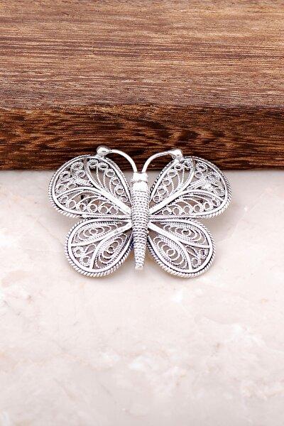 Telkari İşlemeli Kelebek Tasarım Gümüş Broş 288