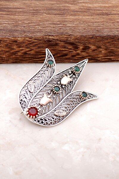 Lale Tasarımlı Telkari İşlemeli Gümüş Broş 321