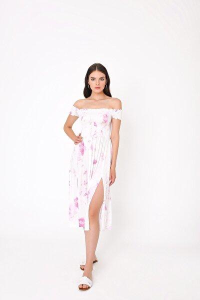 Kadın Beyaz Kayık Yaka Lastikli Yırtmaçlı Elbise HN1990