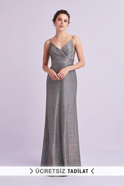 Kadın Gri Kahve İnce Askılı Payet İşlemeli Uzun Abiye Elbise 4XLVC3921V1