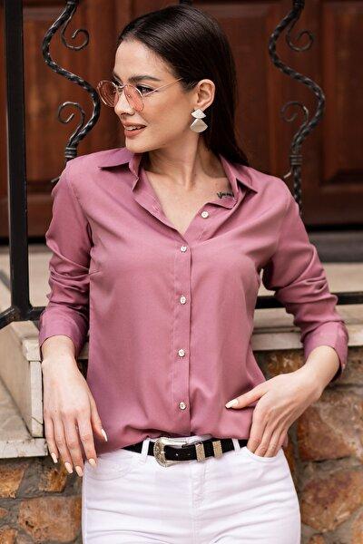 Kadın Gül Kurusu Uzun Kollu Düz Gömlek ARM-19K001200