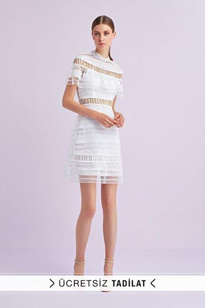 Kadın Beyaz Kısa Kollu Dantel İşlemeli Kısa Nikah Elbisesi WBM1711WHT