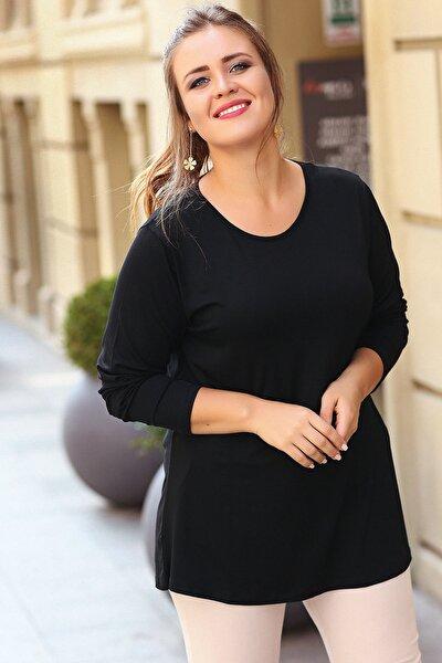Kadın Siyah Yuvarlak Yaka Uzun Kol Bluz M9325