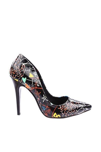 Siyah Desenli Kadın Topuklu Ayakkabı